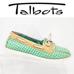 Talbots Women's 8.5 M Green And White boat shoes